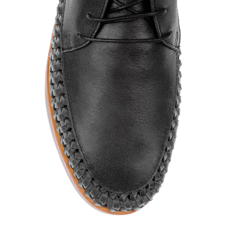 Peniche jet black leather ankle lace up boots for men 2