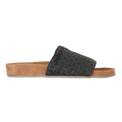 palma black milled woven leather slides for men with soft footbed