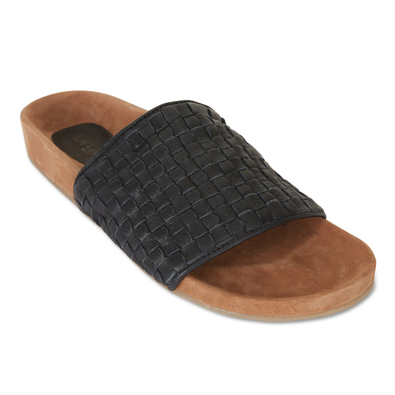palma black milled woven leather slides for men with soft footbed 1