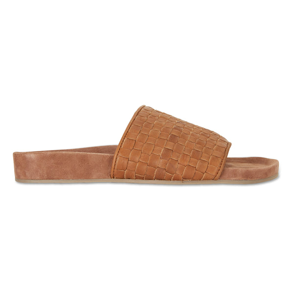 palma tan woven leather slides for men with soft footbed