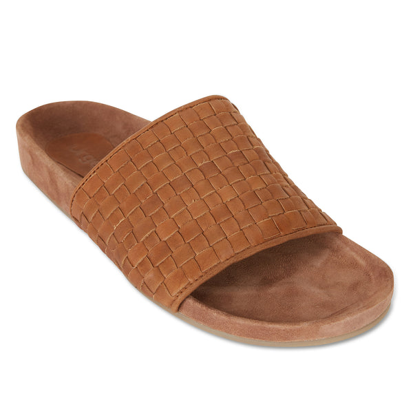 palma tan woven leather slides for men with soft footbed 1