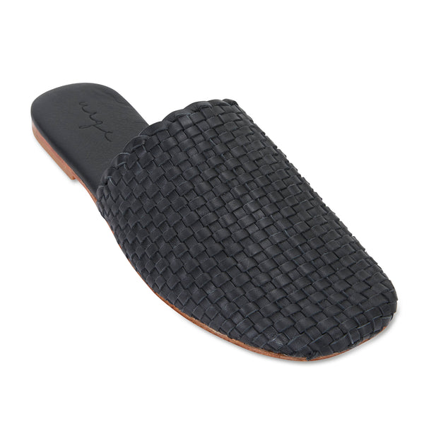 Piper black milled woven leather mules for women with square toe 1