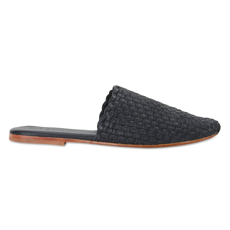 Piper black milled woven leather mules for women with square toe