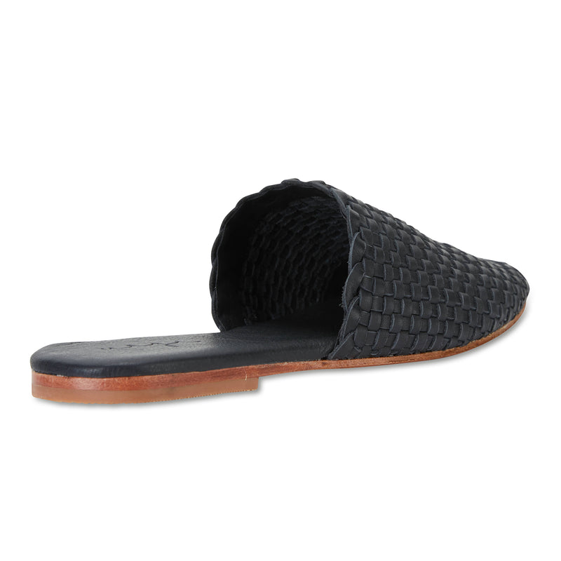 Piper black milled woven leather mules for women with square toe 2