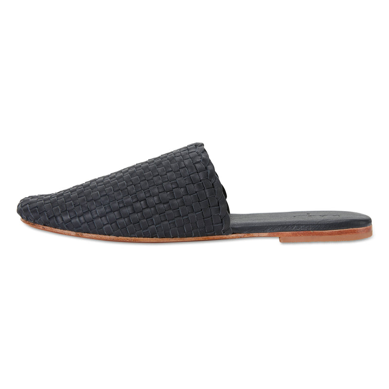 Piper black milled woven leather mules for women with square toe 3