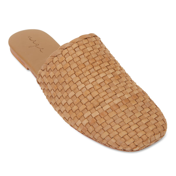 Piper saddle tan woven leather mules for women with square toe 1