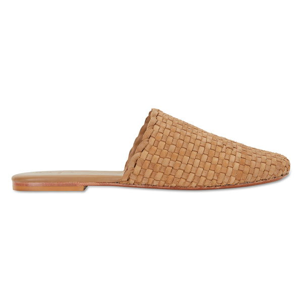 Piper saddle tan woven leather mules for women with square toe