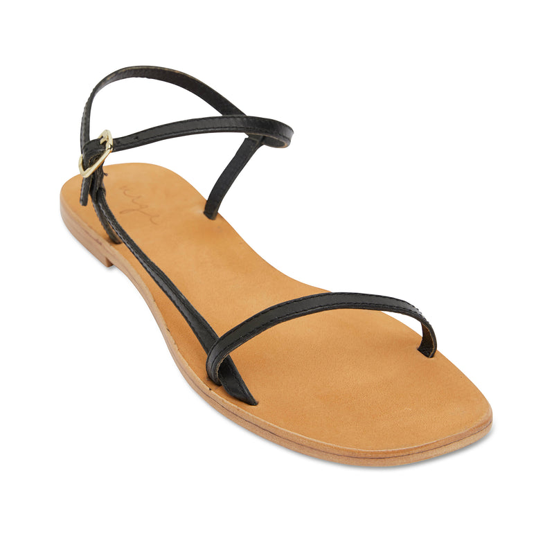 Pippi black leather sandals for women with thin ankle straps 1