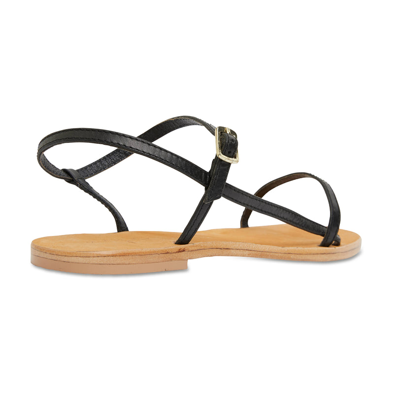 Pippi black leather sandals for women with thin ankle straps 2