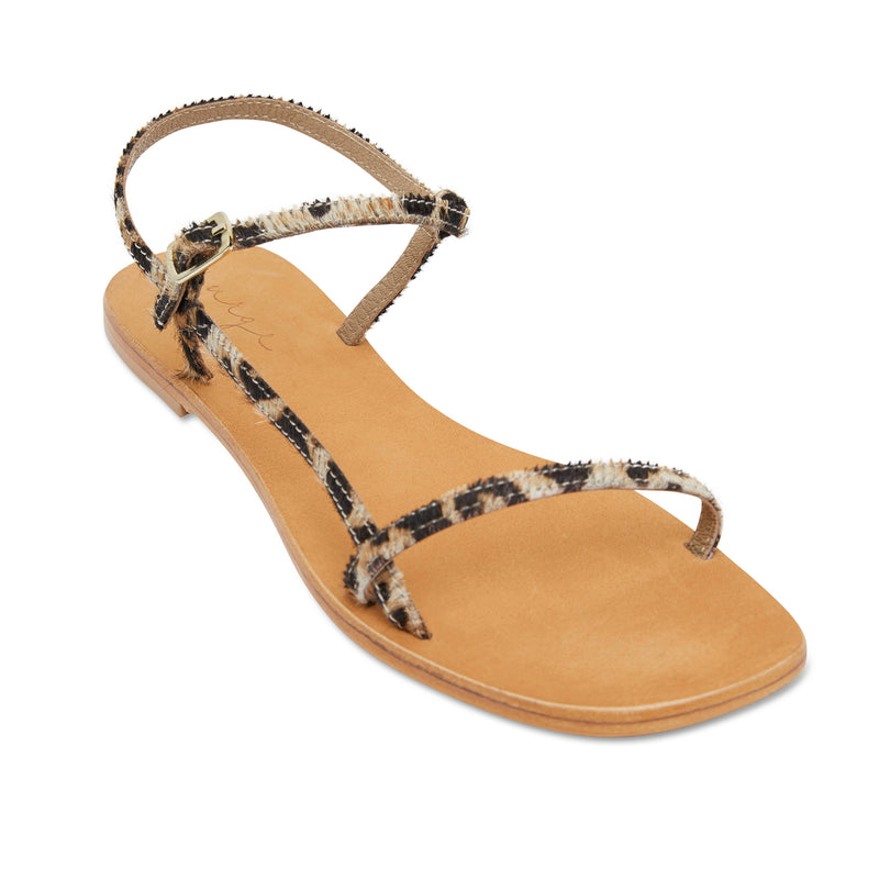 Pippi leopard pony leather sandals for women with thin ankle straps 1
