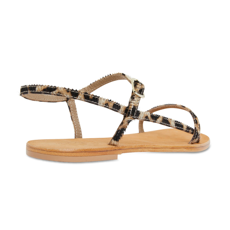 Pippi leopard pony leather sandals for women with thin ankle straps 2