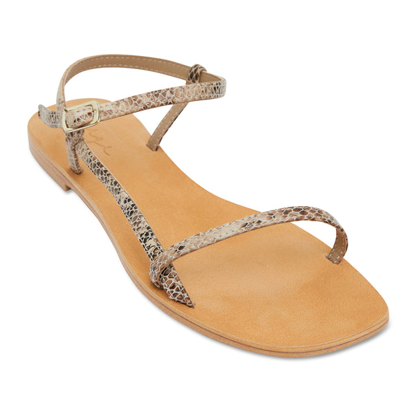 Pippi natural snake leather sandals for women with thin ankle straps 1