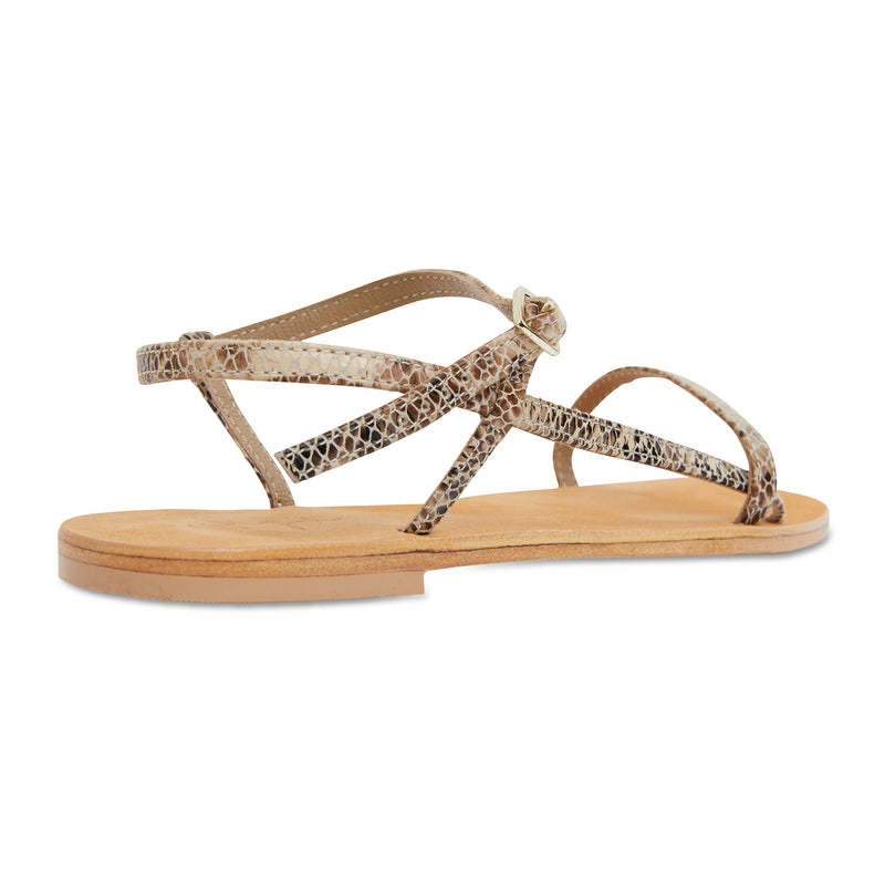 Pippi natural snake leather sandals for women with thin ankle straps 2