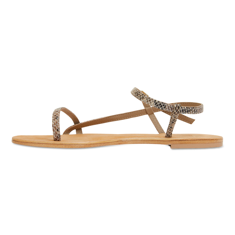 Pippi natural snake leather sandals for women with thin ankle straps 3