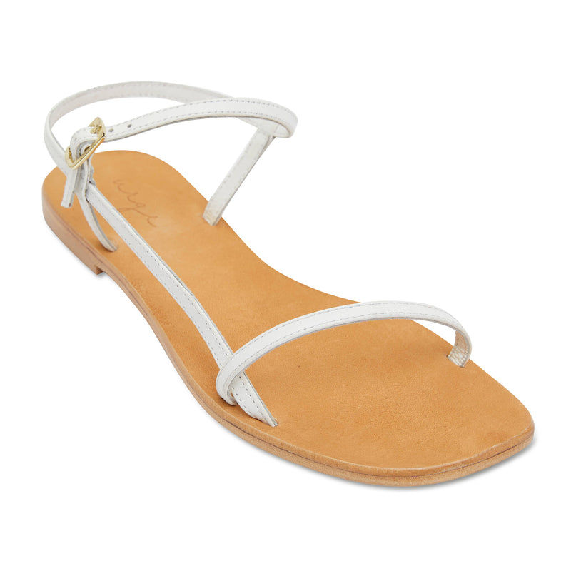 Pippi white leather sandals for women with thin ankle straps 1