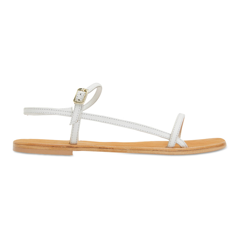 Pippi white leather sandals for women with thin ankle straps