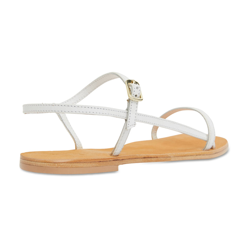Pippi white leather sandals for women with thin ankle straps 2