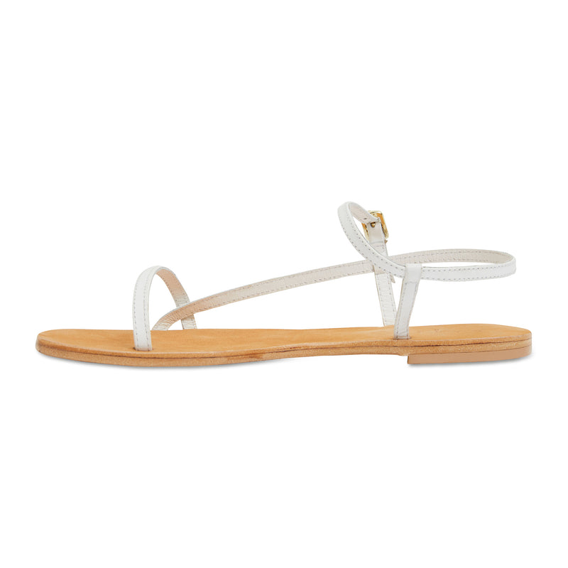 Pippi white leather sandals for women with thin ankle straps 3