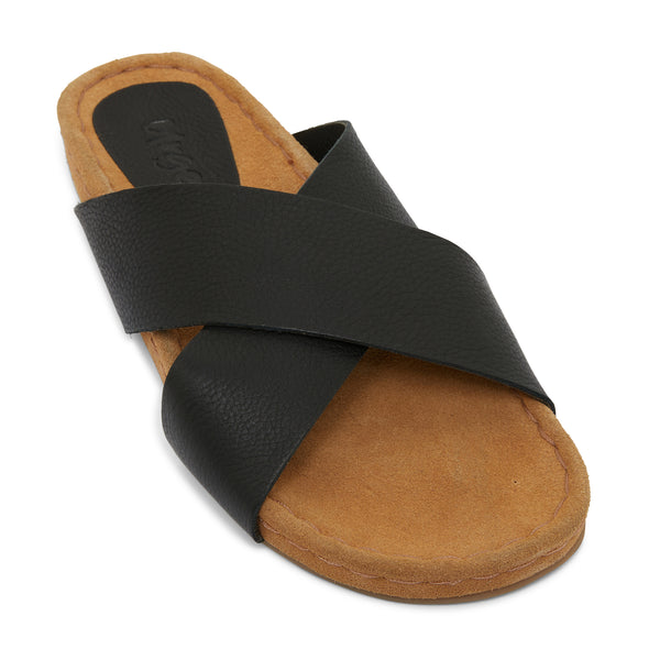 riley black leather crossover slides with molded footbed 1