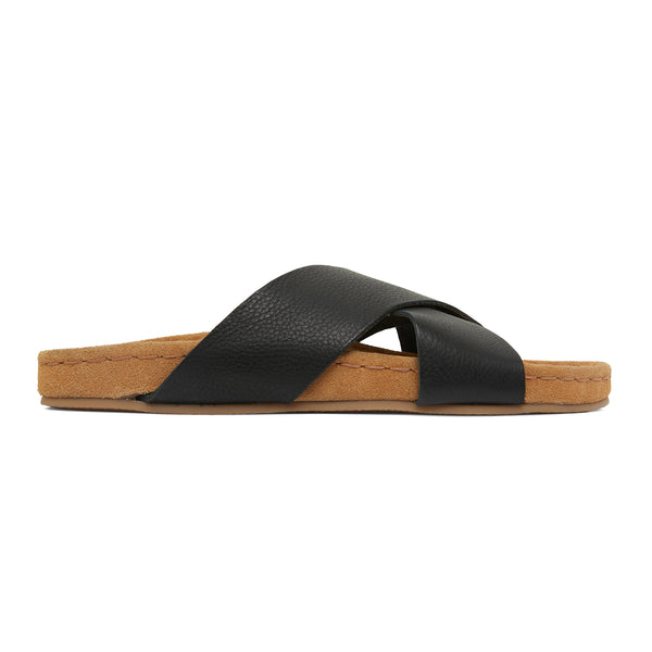 riley black leather crossover slides with molded footbed