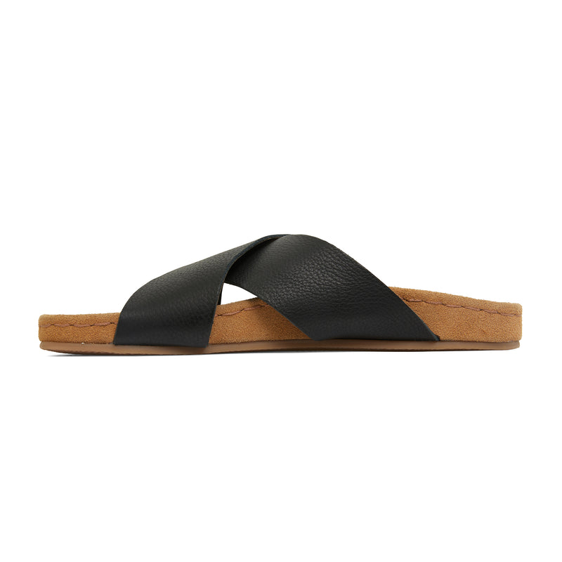 riley black leather crossover slides with molded footbed 2