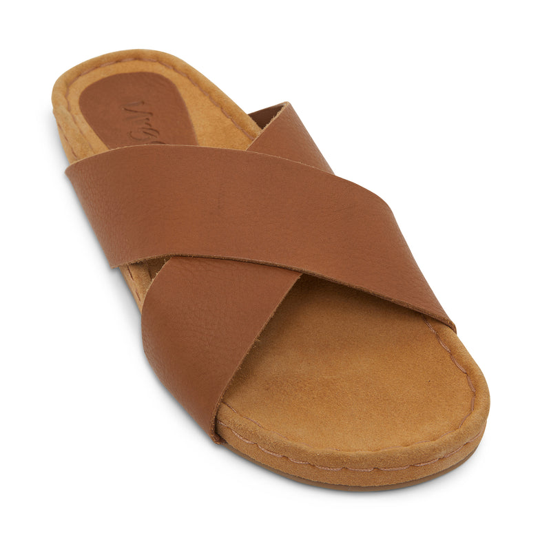 riley cognac leather crossover slides with molded footbed 1