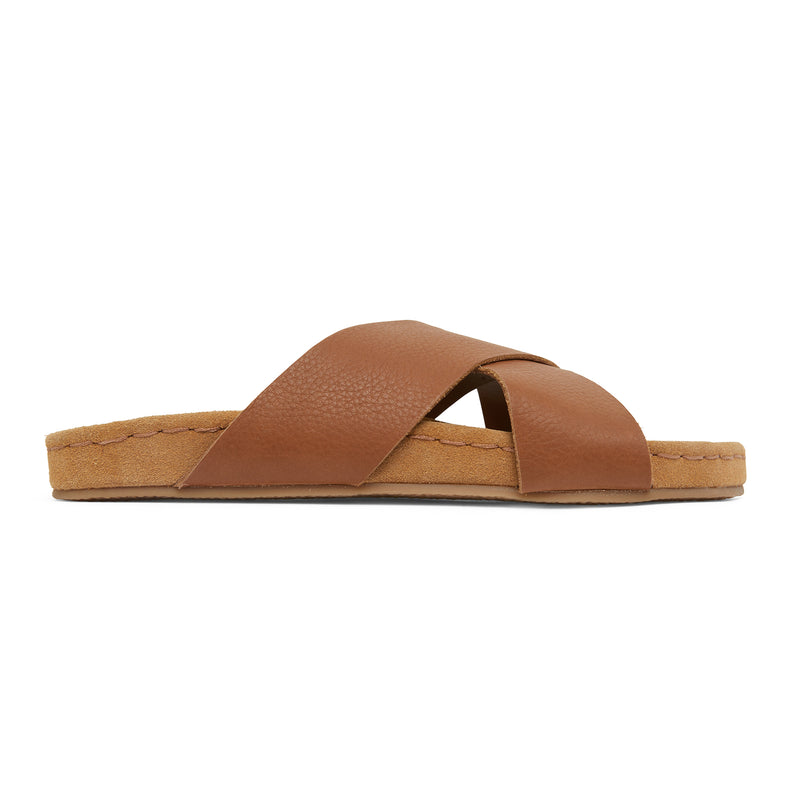 riley cognac leather crossover slides with molded footbed