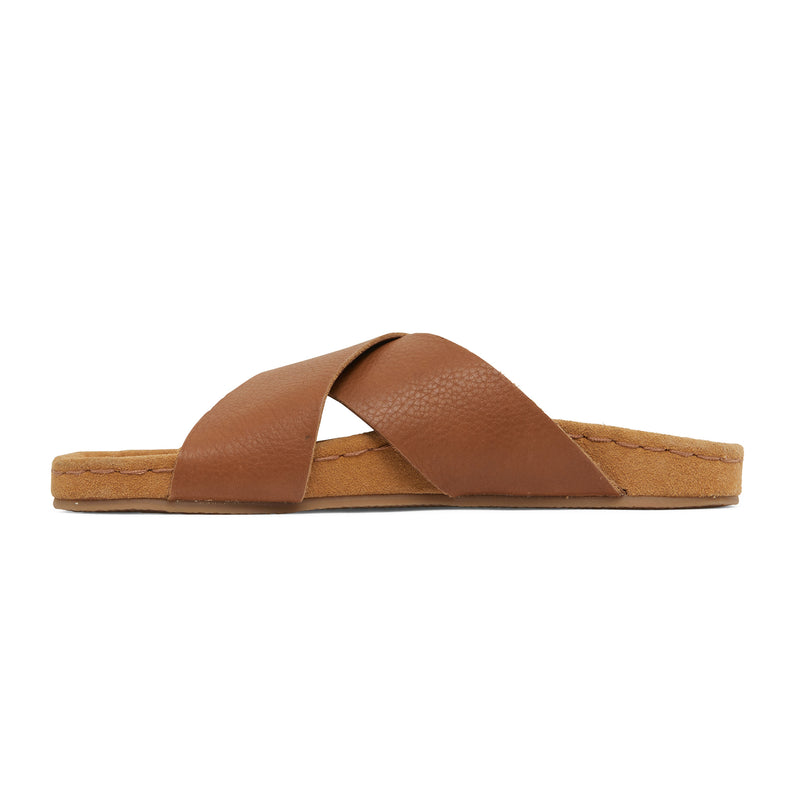 riley cognac leather crossover slides with molded footbed 2