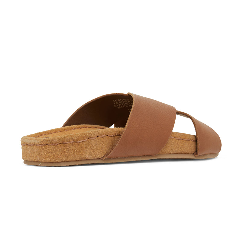 riley cognac leather crossover slides with molded footbed 3