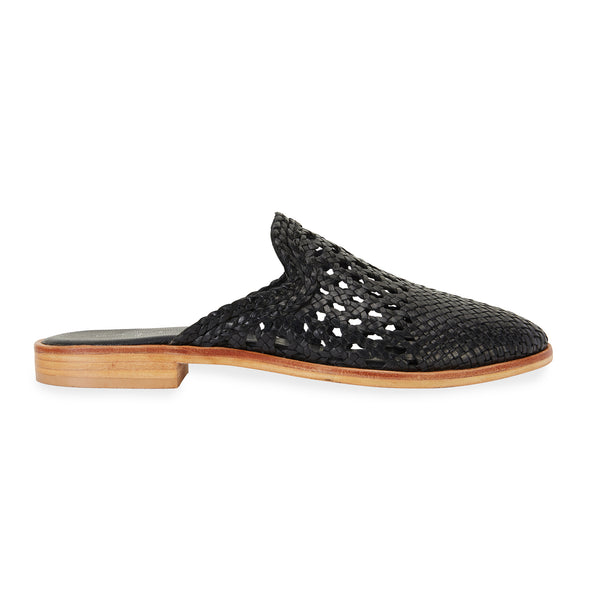 River black leather woven mules with detail for women