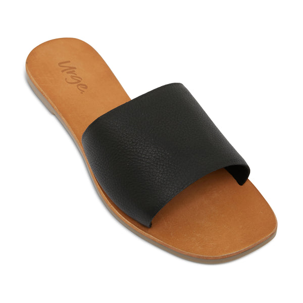 stella black leather slides for women 1