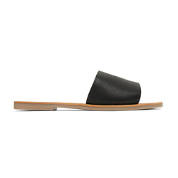 stella black leather slides for women