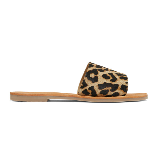 stella leopard print leather slides for women