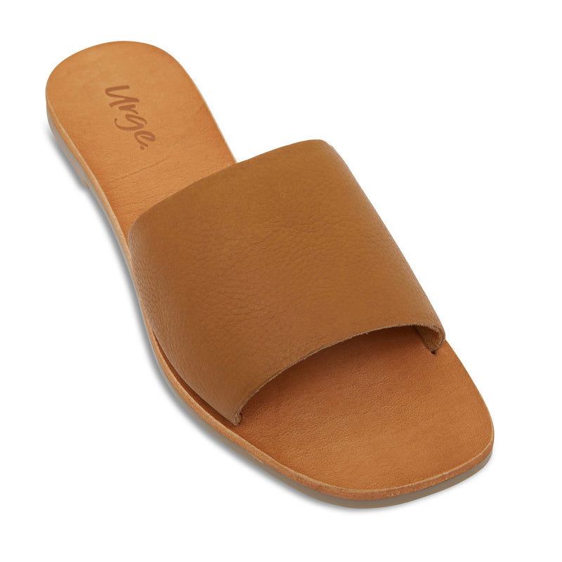 stella tan leather slides for women 1`