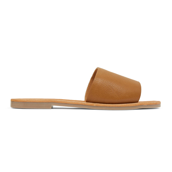 stella tan leather slides for women