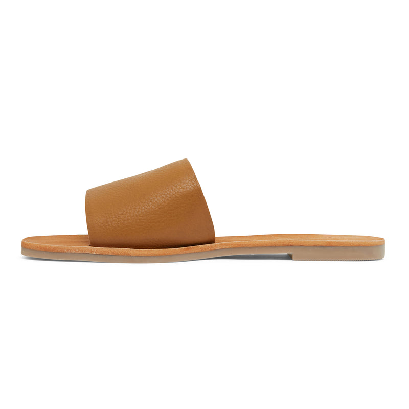 stella tan leather slides for women 2