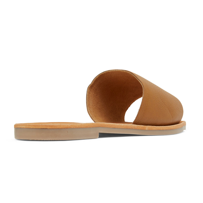 stella tan leather slides for women 3