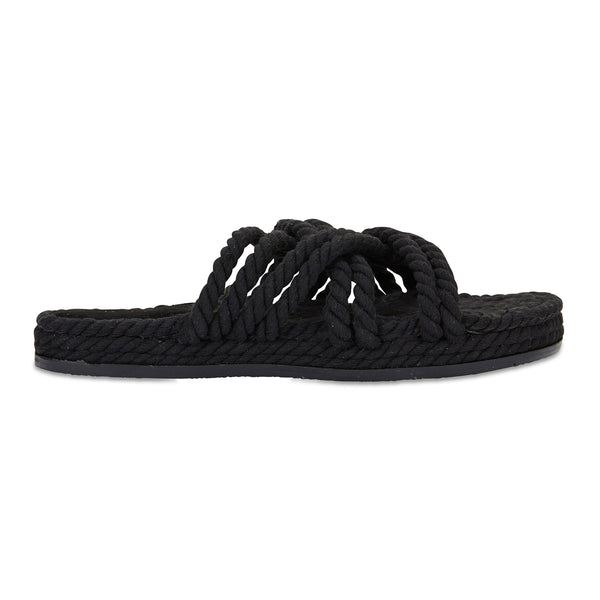 sanchia black cotton rope flatform slides for women