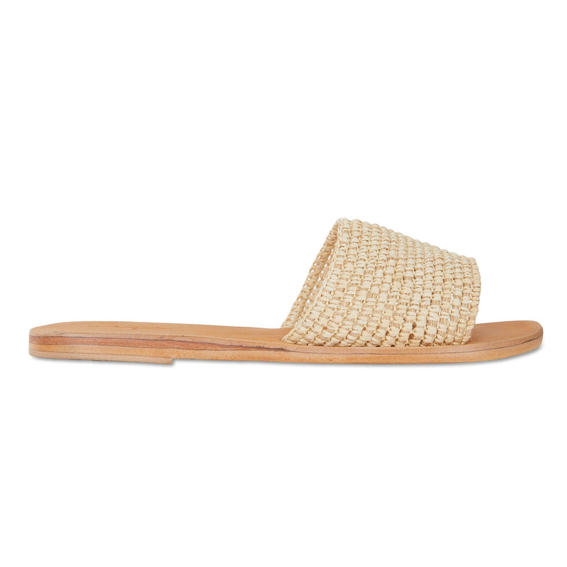 Sara natural rattan handwoven slides for women