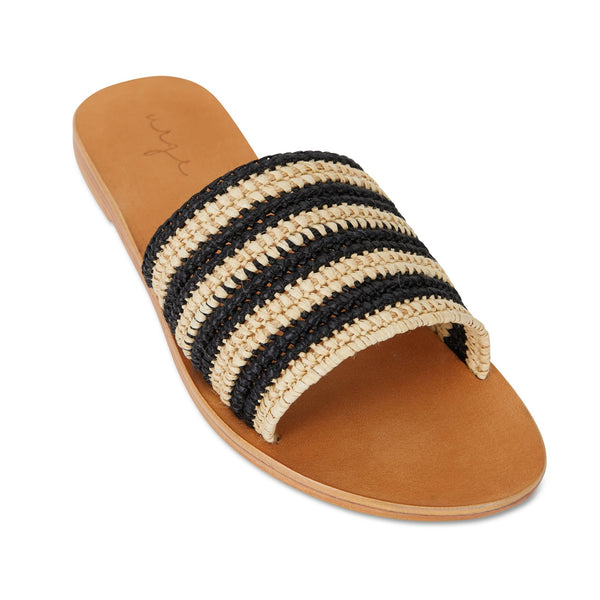 sara natural and black rattan classic womens slides 3