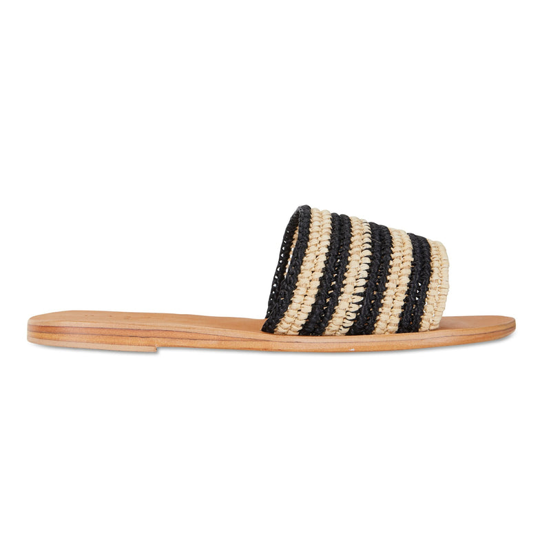 sara natural and black rattan classic womens slides