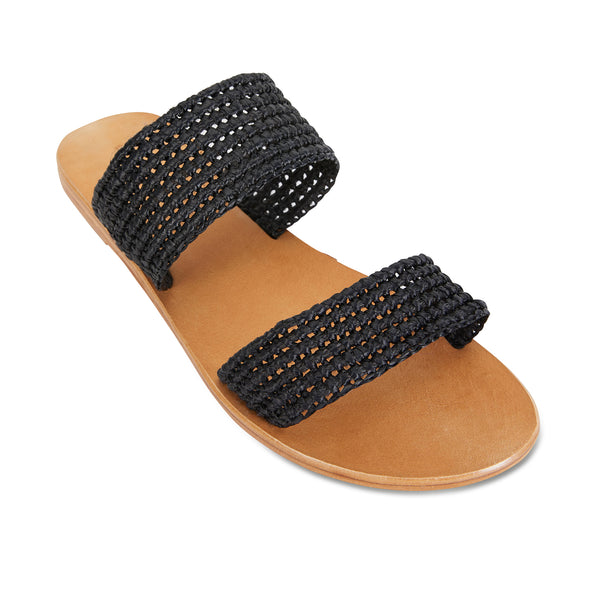 Sebu black rattan double banded womens slides  1