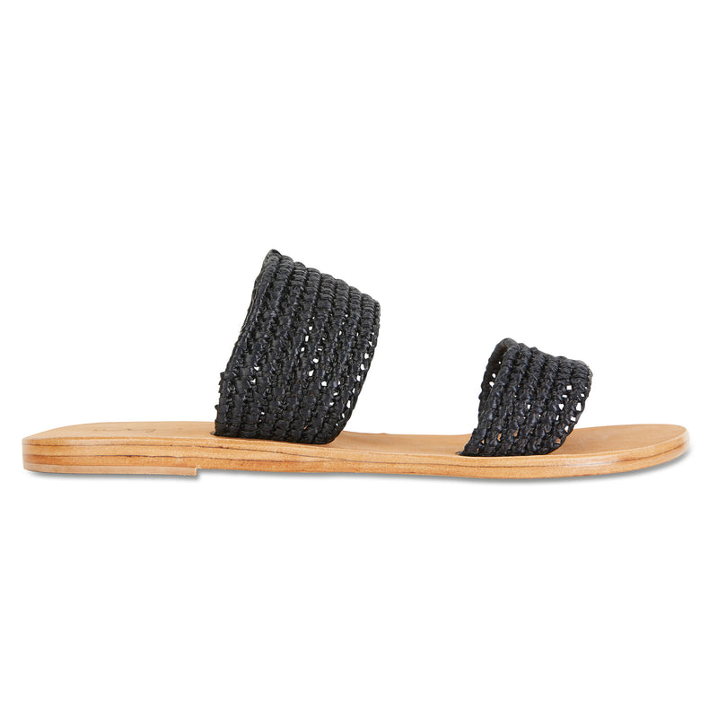 Sebu black rattan double banded womens slides