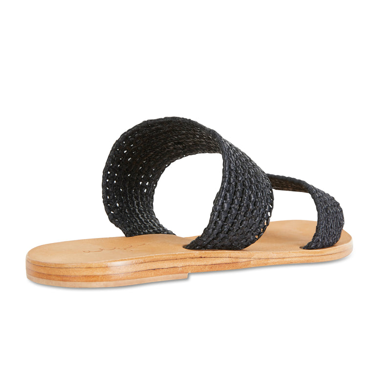 Sebu black rattan double banded womens slides  2