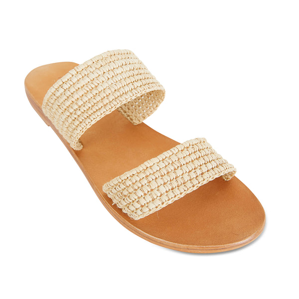 Sebu natural rattan double banded womens slides  1
