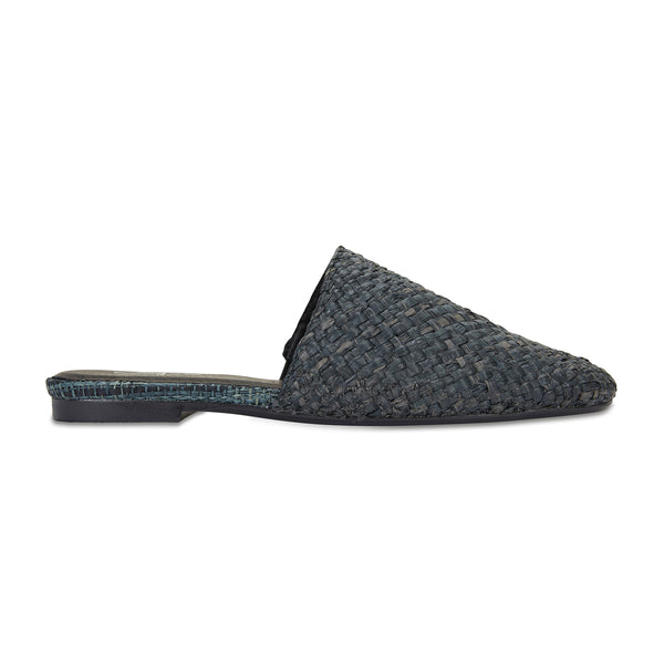 Saleh black woven slides with square toe for women