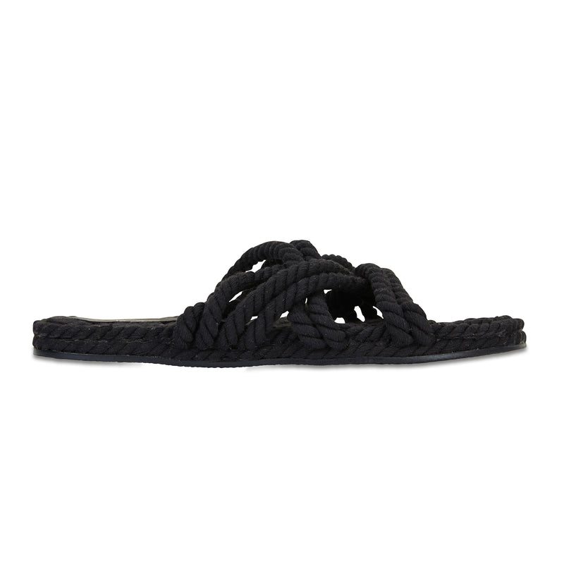 Sky black cotton rope cross over slides for women