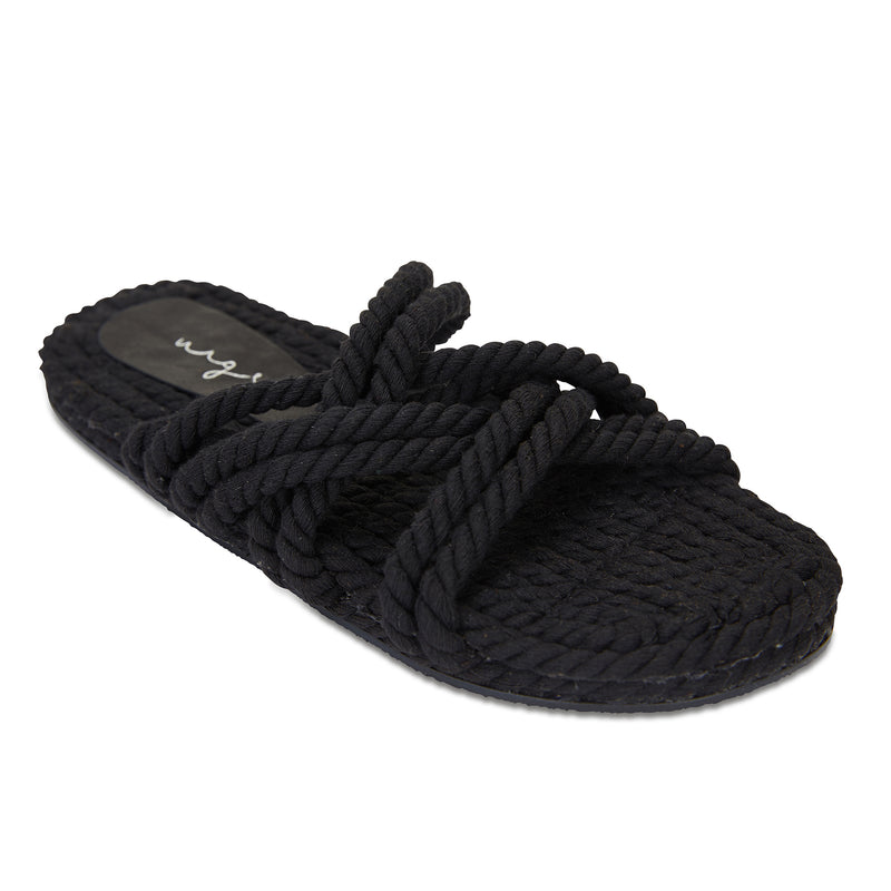 Sky black cotton rope cross over slides for women 1