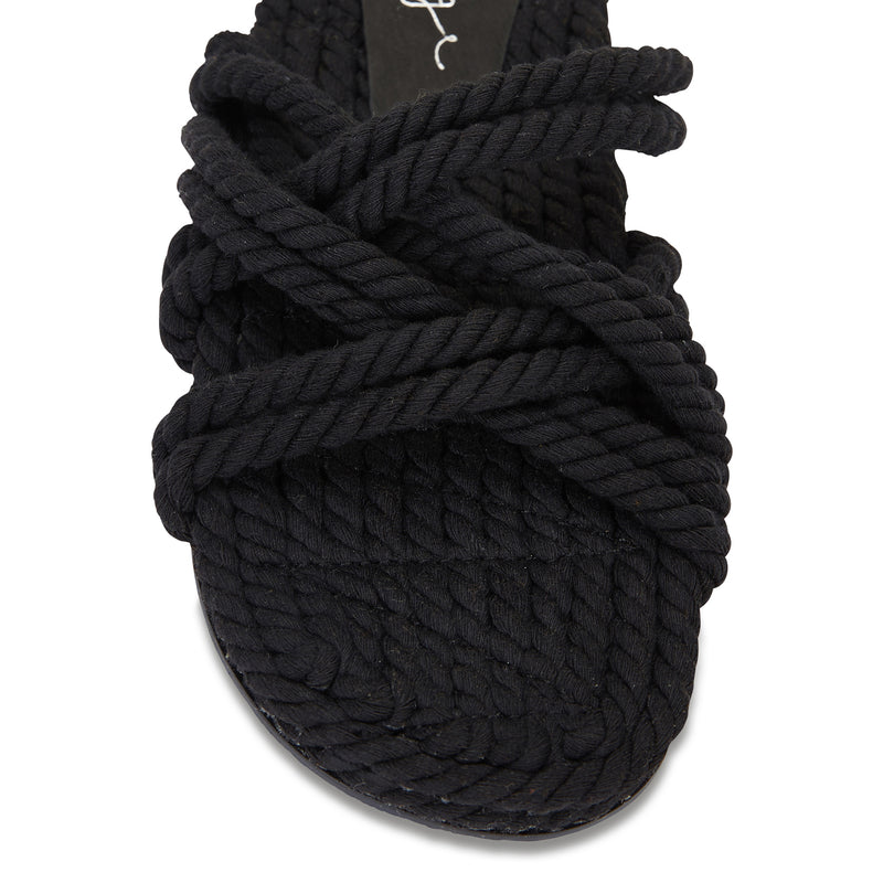 Sky black cotton rope cross over slides for women 2