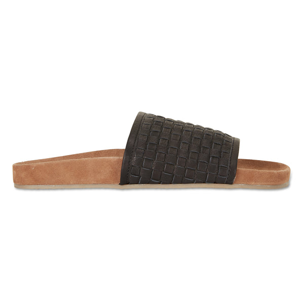 Sofia black milled woven slides with soft footbed for women